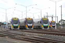 VLocity VL30, VL11, VL41 and VL70 stabled at Geelong for the weekend