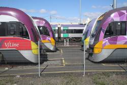 Five different VLocity sets stabled at Geelong Loco