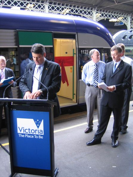 Victorian Premier Steve Bracks making a speech at the Launch Ceremony