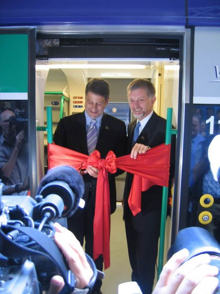 Steve Bracks and Peter Batchelor cutting the ribbon at the Launch Ceremony