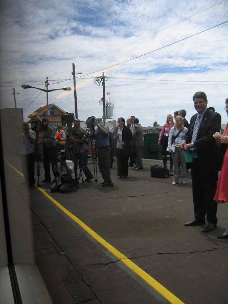 First Vlocity service departing Geelong, with Steve Bracks on the platform and Peter Batchelor in the cab