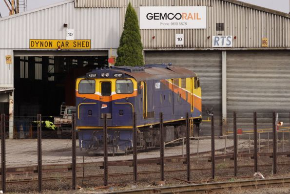 Interail liveried 42107 outside the Gemco / RTS shed