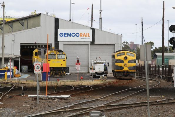 S313 and GML10 getting worked on at the Gemco Rail sheds at Dynon