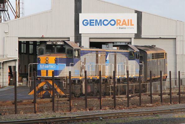 T373 stabled with a classmate and S303 outside the Gemco sheds at Dynon