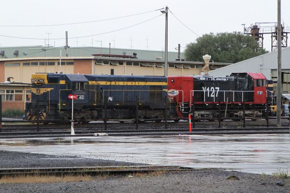 T413 and Y127 outside the Gemco Rail sheds