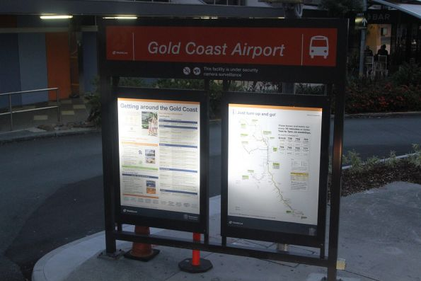 Translink information board at Gold Coast Airport