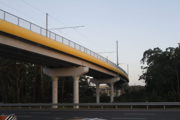 Light rail viaduct crosses over the Smith Street Motorway
