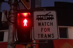 Icon of a W class tram features in this 'Watch for trams' sign on the Gold Coast