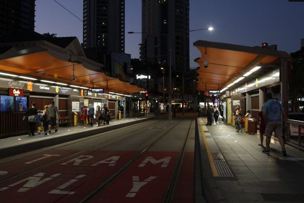 Pair of platforms at the Cavill Avenue light rail stop
