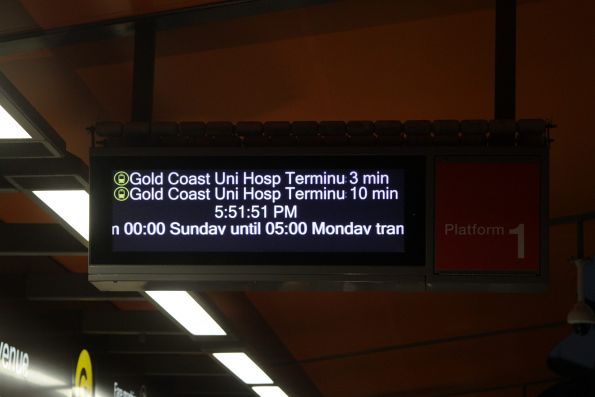 Next departure screen at a Gold Coast light rail stop