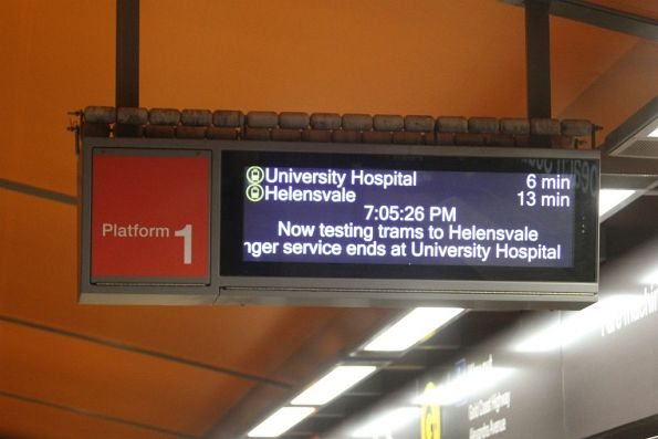 'Now testing trams to Helensvale' notice at Broadbeach South
