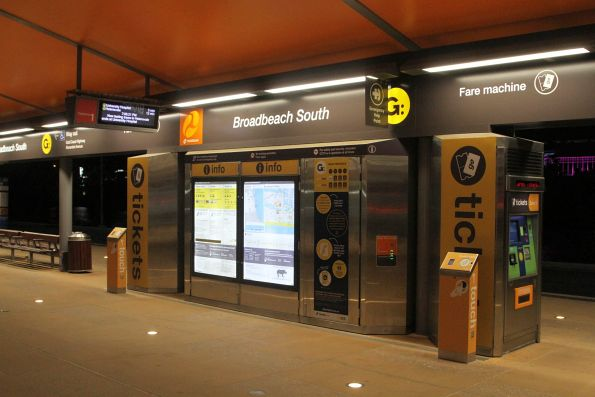 Ticket machines and passenger information at the Broadbeach South stop