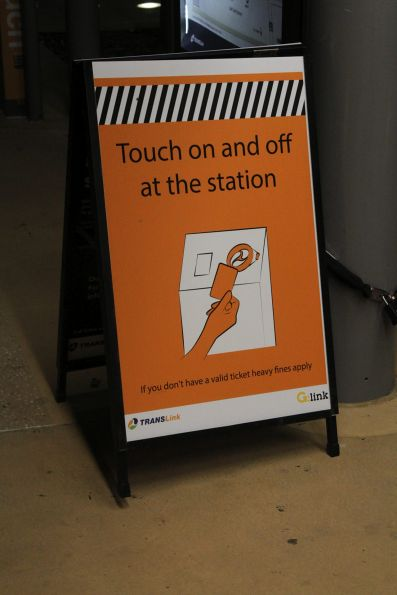 'Touch on and off at the station' poster at Broadbeach South