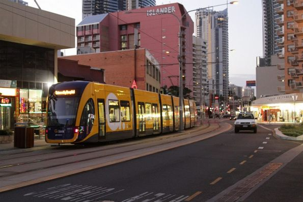 Flexity #14 on Surfers Paradise Boulevard at Cavill Avenue
