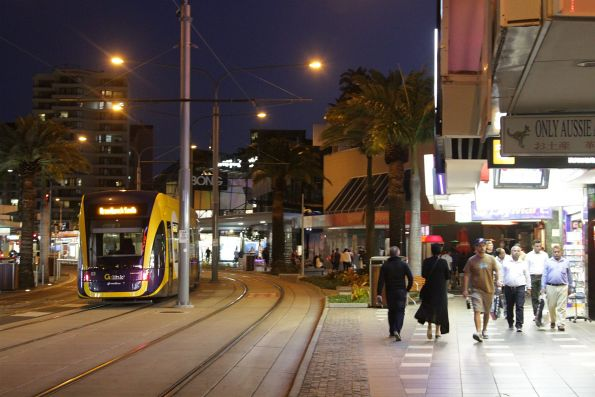 Flexity #03 on Surfers Paradise Boulevard at Cavill Avenue