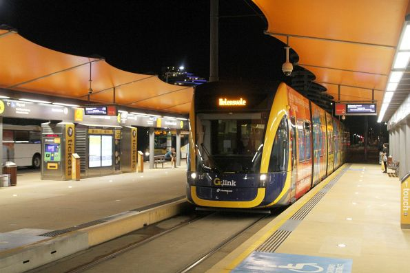 Flexity #10 arrives at Broadbeach South with a 'Helensvale' destination displayed