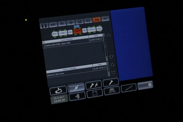 Left side screen inside the cab - system status, and LHS rear vision monitor