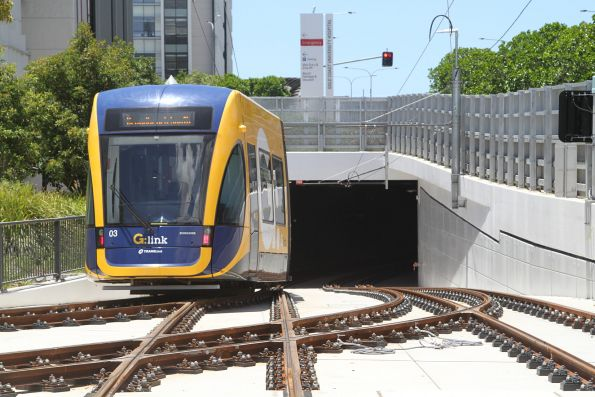 Flexity #03 enters the tunnel at Gold Coast University Hospital