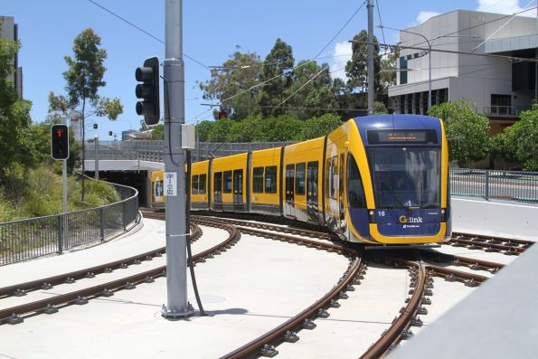 Flexity #16 exits the tunnel at Gold Coast University Hospital bound for the turnback siding
