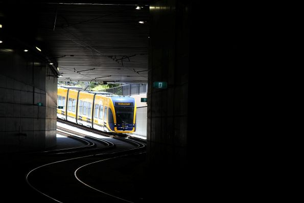 Flexity #16 enters the tunnel at Gold Coast University Hospital