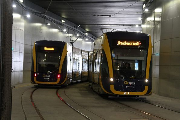 Flexity #16 and #11 pass in the tunnel at Gold Coast University Hospital