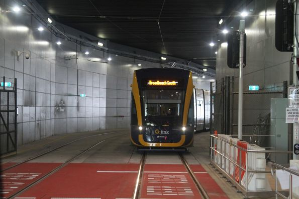 Flexity #16 waiting in the tunnel at Gold Coast University Hospital
