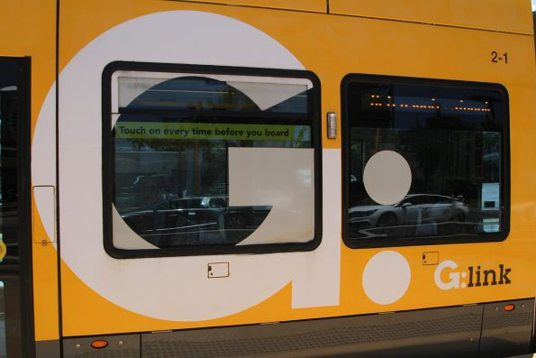 G:link decals on the side of Flexity #02 starting to peel off