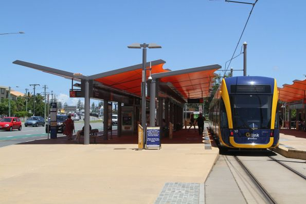Flexity #16 on arrival at the Broadbeach South terminus