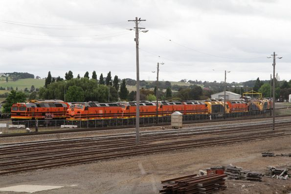 Collection of Aurizon 421, 422, CLP and CLF class locomotives in storage at CFCLA's workshops in Goulburn