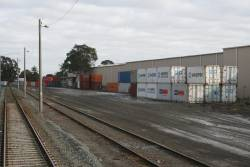 20 foot containers stored at the Mooroopna freight terminal