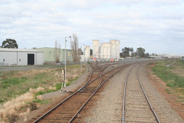 Down end points to the Shell oil terminal at Shepparton