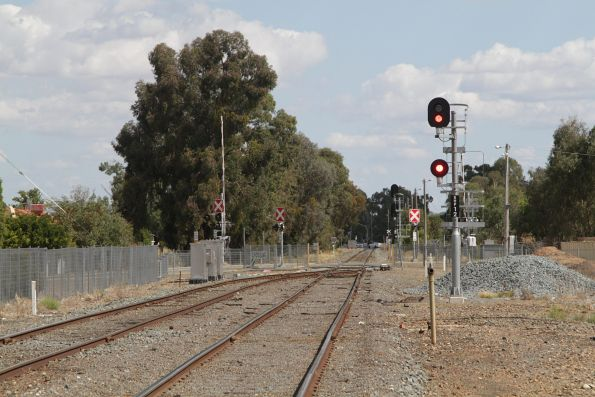 Signal SHP12 at the up end of the yard at Shepparton station
