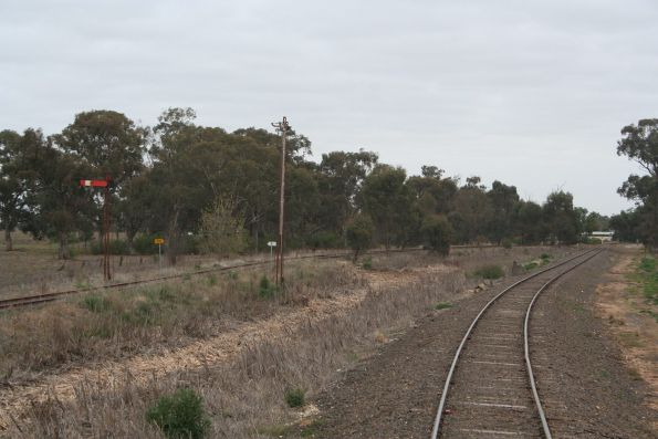 Home signals for up trains on the the Cobram and the Tocumwal lines at Strathmerton