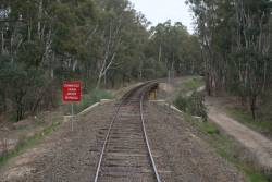 'Commenced Train Order Working' sign for up trains departing Tocumwal