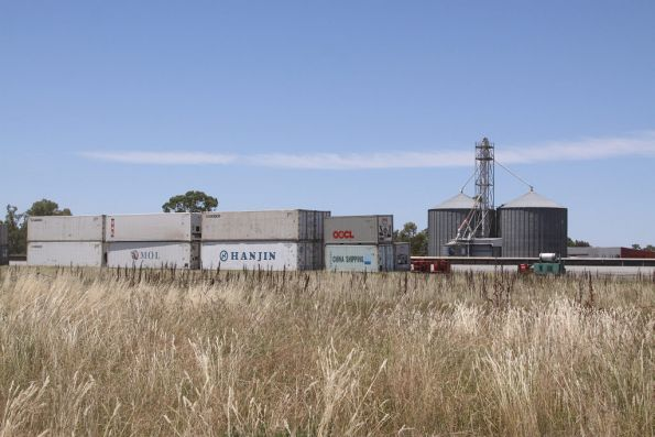 Containers at the Tocumwal terminal, non-rail served grain silos behind