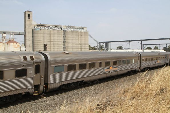 Southbound Great Southern service past the Sunshine grain silos