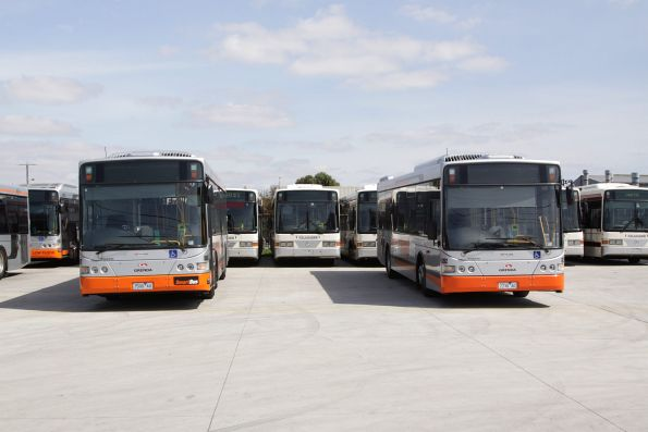 Grenda operated Smartbuses #8607 7500AO and #8392 7730AO stabled at the Tullamarine Bus Lines depot