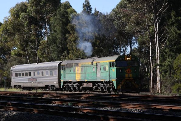 GWA's 701 transfer a single Ghan carriage from Keswick to Dry Creek for a spin on the wheel lathe