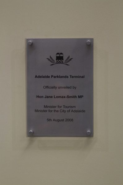 Plaque marking the opening of the Adelaide Parklands Terminal on 5th August 2008