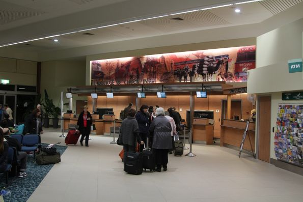 Check-in counters at the Adelaide Parklands Terminal