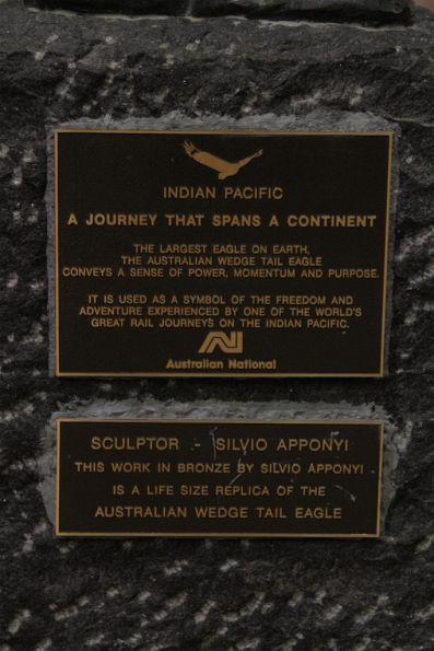 Plaque below the wedge tail eagle sculpture by Silvio Apponyi at the Adelaide Parklands Terminal