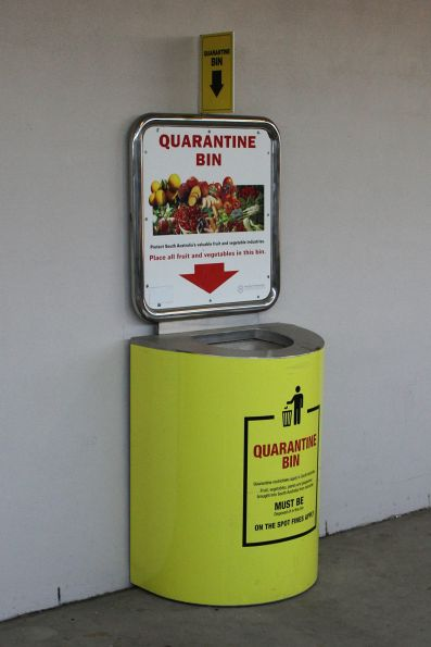 Quarantine bin at Adelaide Parklands Terminal