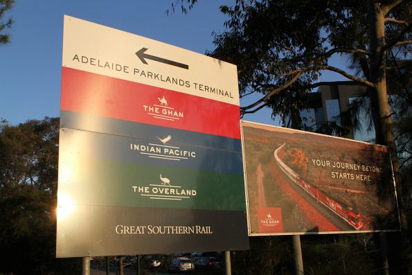 Signage leading towards Adelaide Parklands Terminal
