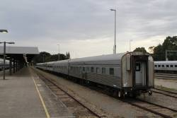 Two JTB sleeping carriages, a CDF cafe car and AG/BG sitting cars stored at Adelaide Parklands Terminal