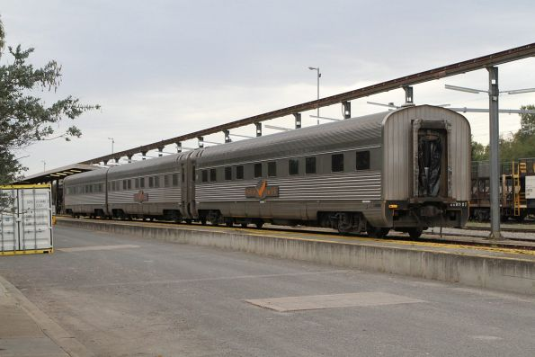 Indian Pacific sleeping carriages under repair at Adelaide Parklands Terminal