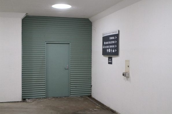 Closed off passageway from pedestrian subway to station building at Adelaide Parklands Terminal