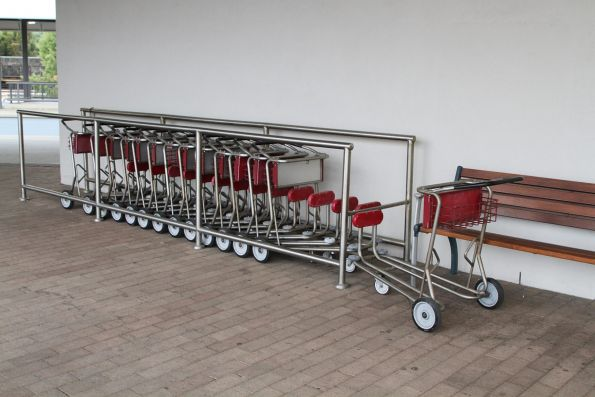 Luggage trolleys at Adelaide Parklands Terminal