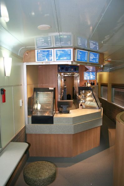 Serving area of the cafe car