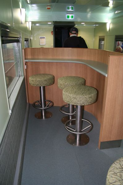 Bar stools in the cafe car