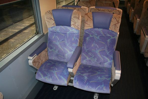 Second class seats on the refurbished train